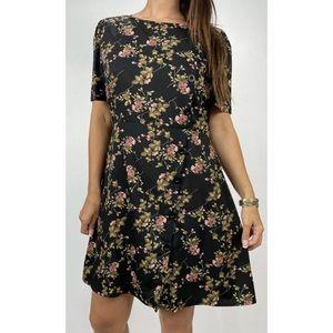 SHOWPO Black Pink Floral Print Dress Plus Sz AU 18